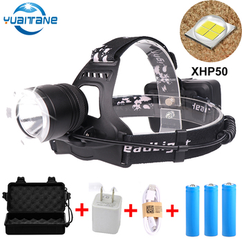 40W Chip XHP50 XHP70 LED Headlight powerful Led Headlamp Head Lamp Flashlight torch Lantern light By 3*18650 battery