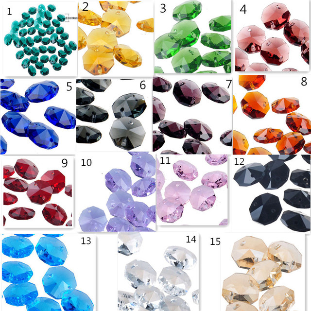 50pc Lot 16 Color 14mm Glass Crystal 2 Holes Octagonal Beads