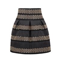 2016 New Trend Women Fashion Black High Waist Rivet Striped Skirt One Size
