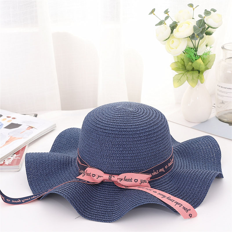 Women Sun Protective Strawhat Wave Brim Simple Bowknot Decor Beach Hat for Summer -MX8