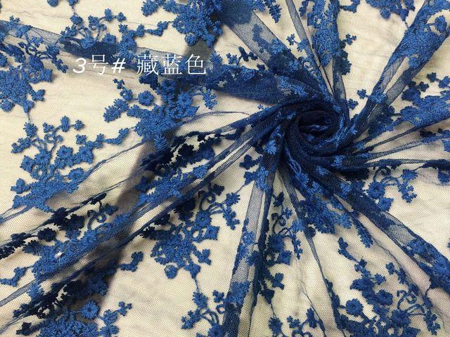 Transparent mesh stickerei spitze stoff spitze blumen kleid 120 cm ...