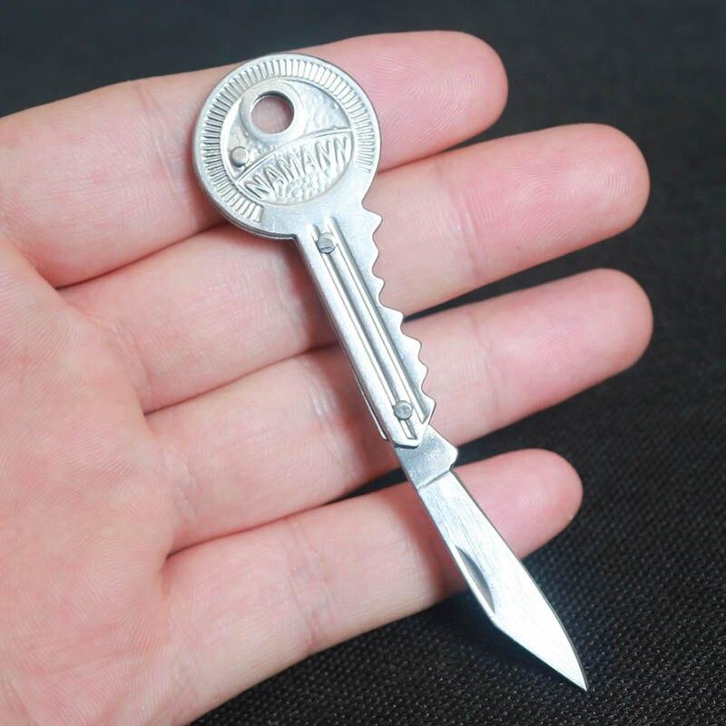 New 1Piece Mini Key Knife Fold Key Pocket Knife Key Chain Knife Peeler Portable Camping Key Ring Knife Outdoor Survival Tool