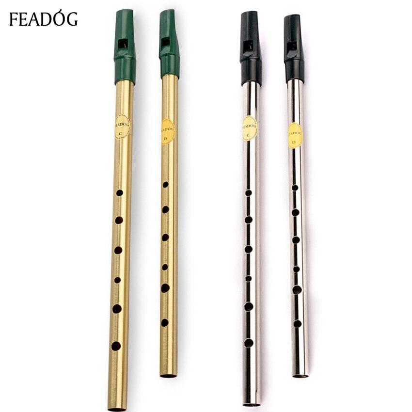 Irish Whistle Flauta Feadog C D llave Tin Whistle 6 hoyos clarinete Flauta niquelado Flauta latón instrumento Musical dizi