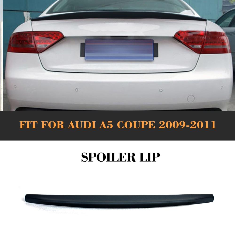 Traseira do carro Tronco Spoiler Traseiro Asa Para Audi Boot Personalizado A5 2 Coupe Porta padrão Apenas 2009-2015 blcak PU