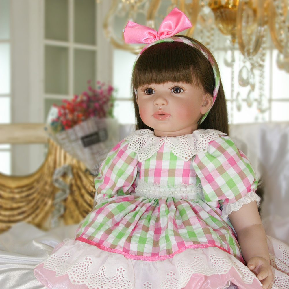 Plaid Dress Soft Body Reborn Silicone Baby Girl Doll Lifelike Princess Toddler Girl Doll Toys for Sale Girls Best Birthday Gifts 52cm shoulder length hair reborn toddler baby girl doll smling princess girl doll in flower dress girls toys birthday xmas gifts