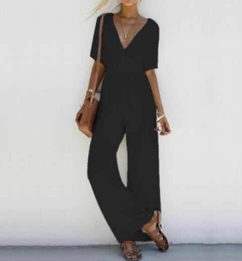 New 2019 Summer Suit Female Loose Casual Deep V Cross With Belt Tie Pleated Trousers Jumpsuit Ladies Suit in Jumpsuits from Women 39 s Clothing