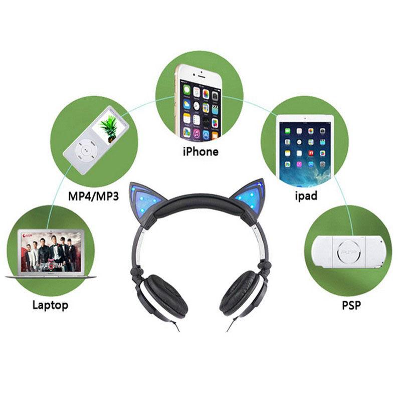 Glowing LED Cat Ear Headphones