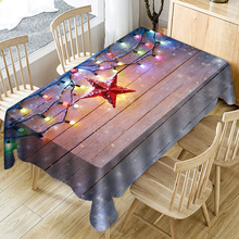 цена на Christmas Tablecloth 3D Waterproof Tablecloth Fabric Rectangular Table Cloth Neon Wood Star Decoration Tablecloths Table Cover