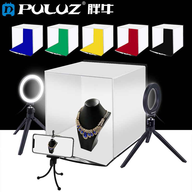 30cm Photo Softbox Portable Folding Studio Shooting Tent Box + 4.6 inch Ring LED Light Kits with 6 Colors Backdrops