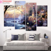 4Pieces Wall Picture sea,lighthouse,5D DIY Diamond Painting,diamond Embroidery Full Cross Stitch Rhinestone diamond Mosaic art(China)