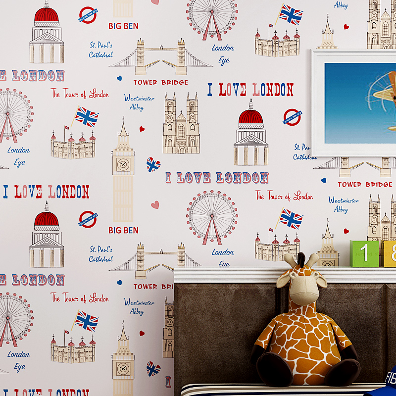 цена на Cute Cartoon Children Boys Room Decor Wall Paper Rolls Mediterranean British Style Green Non-woven Wallpaper For Bedroom Walls