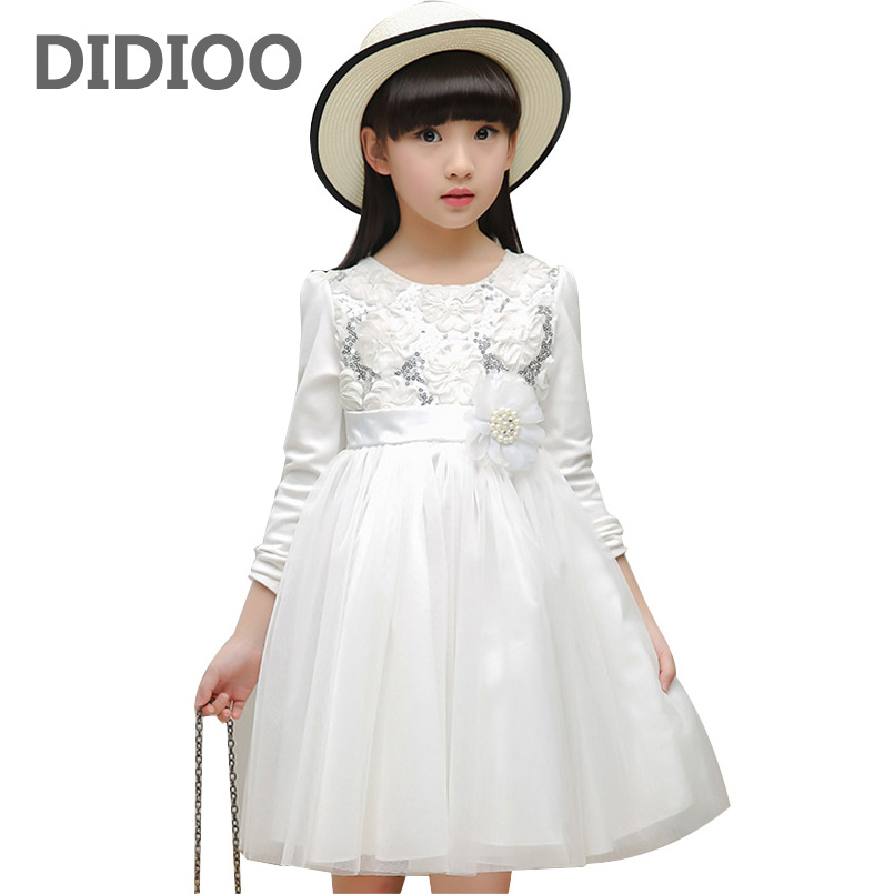 Flower Girls Wedding Dresses Long Sleeve Princess Tulle Dress Elegant Kids Party Dresses For Girls Vestidos 2 4 6 8 10 12 Years girls princess party dresses 4 long sleeve striped kids dresses for girls 6 preppy style bottoming dress 8 ball gowns 10 12years
