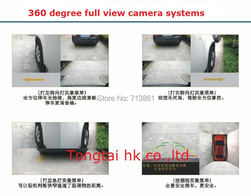 360 degree full view car security monitor system,DVR and record function,recording automatical,fit all the car,seam display