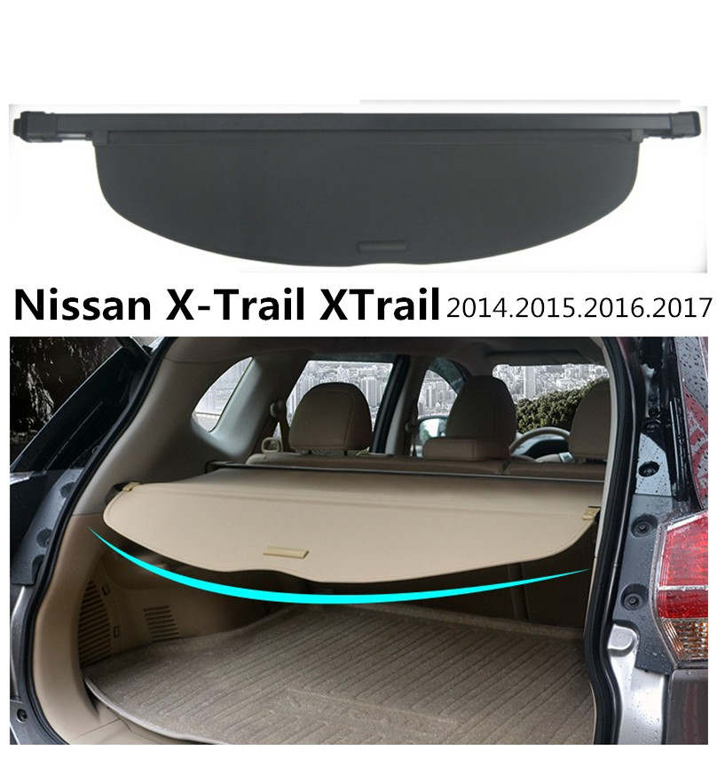 For Nissan X-Trail XTrail Rogue 2014.2015.2016.2017 Rear Trunk Security Shield Cargo Cover High Quality Car Trunk Shade Security for nissan xterra paladin 2002 2017 rear trunk security shield cargo cover high quality car trunk shade security cover