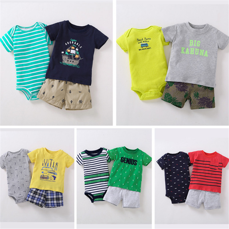 Newborn baby boy short-sleeved romper 100% cotton printed spring and autumn new body tights t-shirt short-sleeved shorts 3 sets the spring and summer of 2018 newborn baby clothes jumpsuit romper cotton short sleeved