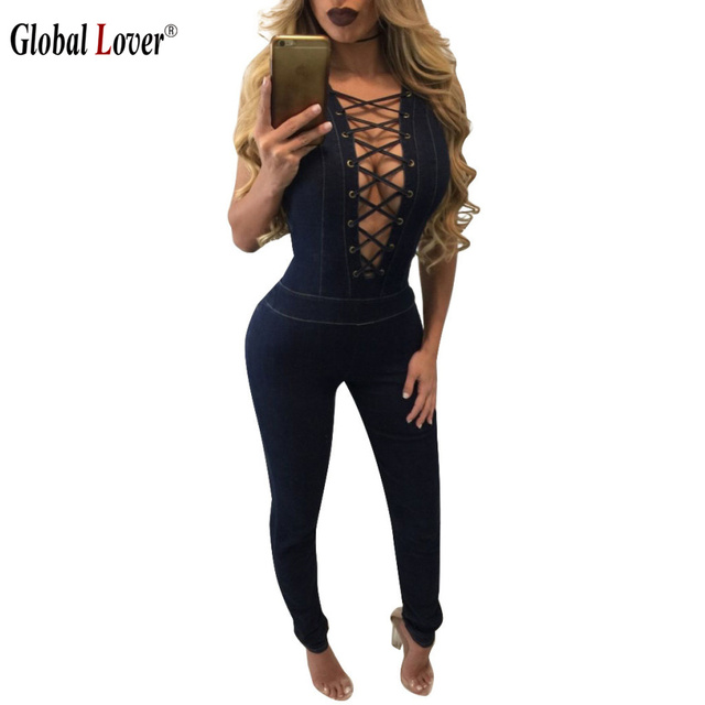d9da1287072 Denim Overalls Women Romper Sexy Club Skinny Sleeveless Jumpsuits Jeans  Long Pants 2016 Womens Lace Up Bodycon Jumpsuit Big Size