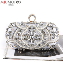 Rhinestone Evening Bag Diamond Clutches Pearls Beaded Women Messenger Bags Clutch Purses and Handbags Wallet Evening Wedding Bag цена и фото