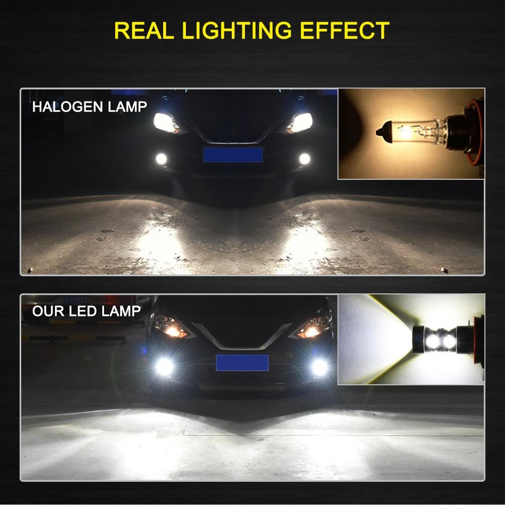 2 Pcs 50W H10 8000K 9145 High Power LED CREE Super Bright Blue Fog Lights Bulbs
