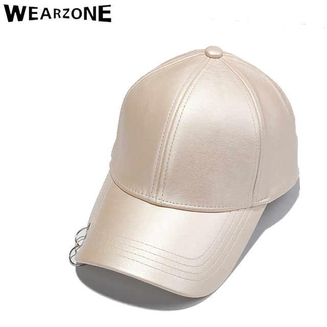 2017 Fashion Wearzone Men PU Cap Solid Color Faux Leather Ring Adj Baseball Caps Summer Outdoor Sun-shading hiphop Casual Hat
