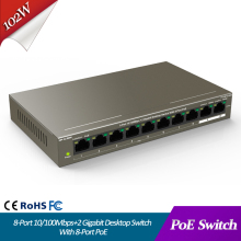 8 Port 10/100Mbps+2 Gigabit Desktop Switch With PoE ethernet switch poe powered PoE+ and Dual Uplink