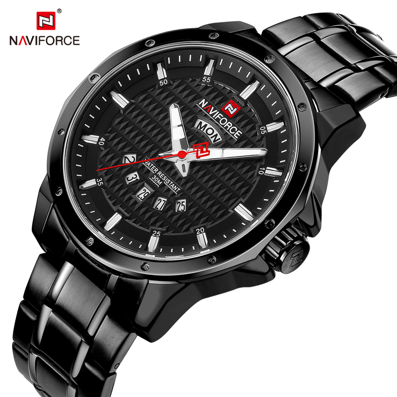 NAVIFORCE Famous Brand Men' Watch Full Stainless Steel Analog Quartz Male Clock Date Display Watches Fashion Sport Watch curren luxury brand men watches full stainless steel analog display auto date male fashion quartz watch waterproof xfcs clock