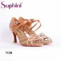 Free Shipping Suphini Deep Tan Woman Latin Dance Shoes