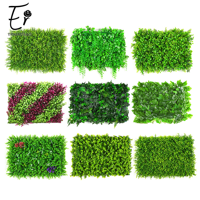 Erxiaobao 40*60 CM High Quality Polyester Artificial Plants Leaf Fake Grass Simulation Lawn Indoor Fence Flower Wall Decoration