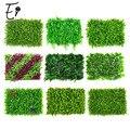 Erxiaobao 40*60 cm de alta qualidade poliéster plantas artificiais folha falso grama simulação gramado cerca interior decoração da parede flor
