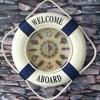 35CM Blue Mediterranean Style Painting Cloth Lifebuoy Clock 1PC Needle Wall Clocks Home Decor Pendant