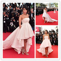 Sexy Leila Bekhti Asymmetrical Pink Knee Length Strapless Celebrity Dress Cannes Festival 2015 Evening Gown Evening Dresses CD12