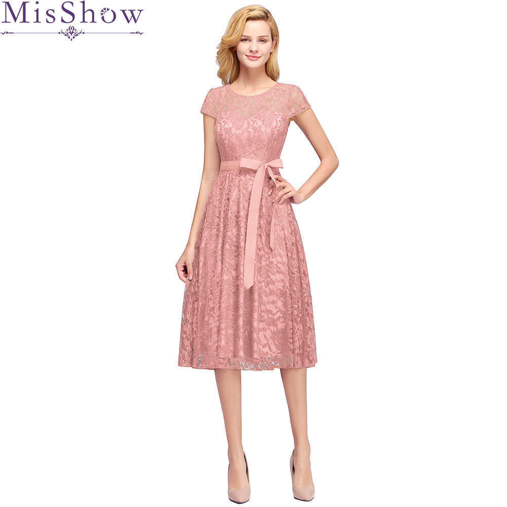 Sexy Elegant Dust Pink Lace   Bridesmaid     Dresses   Short 2019 Plus Size A line Short Sleeves Wedding Party   Dress   with sashes cheap