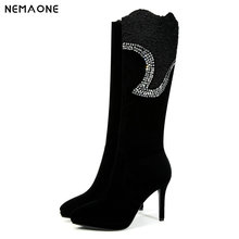 NEMAONE women high heels knee high boots pointed toe ladies boots platform spring autumn party dress shoes woman large size 43