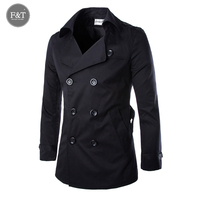 [Asian Size] New Fashion Men Solid Slim Trench Coat England Style Long Jacket Overcoat Double Breasted with Sashes Party Wear