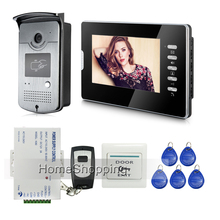 FREE SHIPPING Brand New Wired 7″ Color Home Video Door Phone Doorbell Intercom System 1 RFID Access Camera + 1 Monitor In Stock