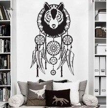 Art Cool Волк Dreamcatcher Стикер Стены Ичных Винил Украшения Дома Наклейки для Стен Волчья Голова Искусство Обои Для Домашнего Декора Y-777
