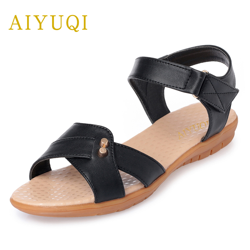 AIYUQI 2018 new genuine leather women sandals summer flat middle-aged mother sandals plus size 41#42#43# casual shoes female aiyuqi plus size 41 42 43 women s flat shoes 2018 spring new genuine leather women shoes soft surface mom shoes women