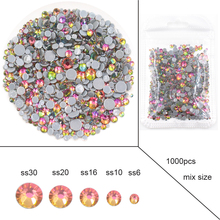 New 1000pcs rainbow Glitter Crystals Glass Flatback Rhinestones For Clothes Decoration High Quality Iron on Crafts
