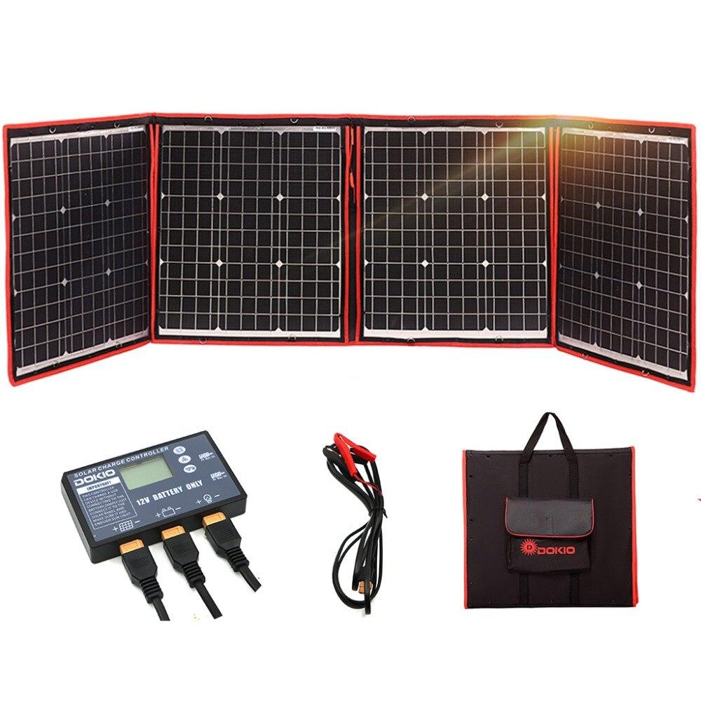 Dokio 160W panneau solaire 12 V/18 V Flexible pliable panneau solaire usb Portable cellule solaire ensemble pour bateaux/Camping/voiture/rv 150W