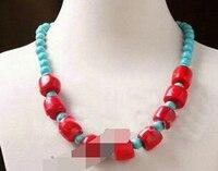 Huij 004341 Güzel kırmızı mercan turkuaz gevşek boncuk el yapımı kolye 20 (A0325)