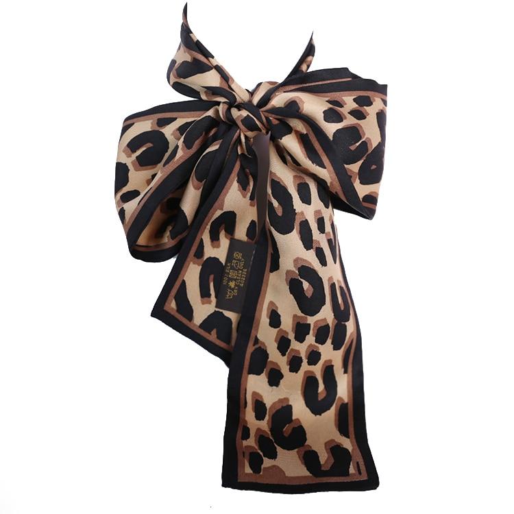 Leopard Print Fashion Lady 100% Silk Riband Scarves Bags Handbag Scarf Lengthen Ribbon Hair Band Wholesale Drop Shipping BW2