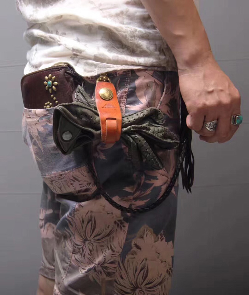 Gants Harley en cuir véritable faits à la main boucle gants de moto boucle faisceau gants porte-clés rétro
