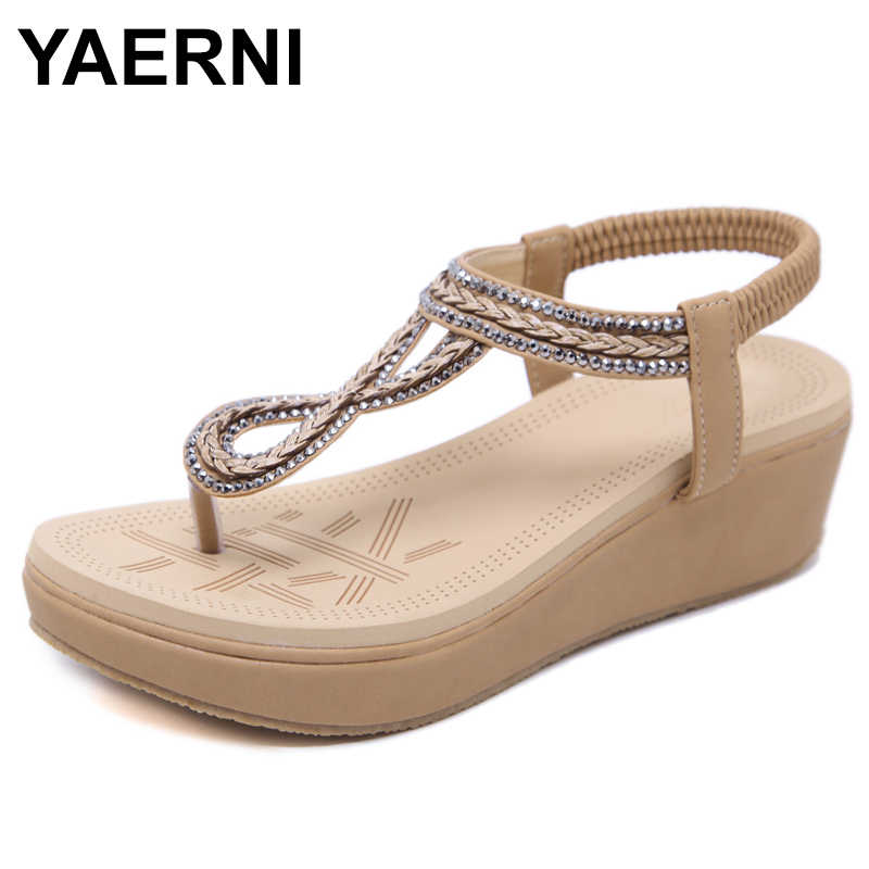 YAERNIBohemia Women Wedge Flip Flop Platforms Sandals Shoes Women Fashion Crystal Ethnic Gladiator Sandals Thick BottomshoesE975