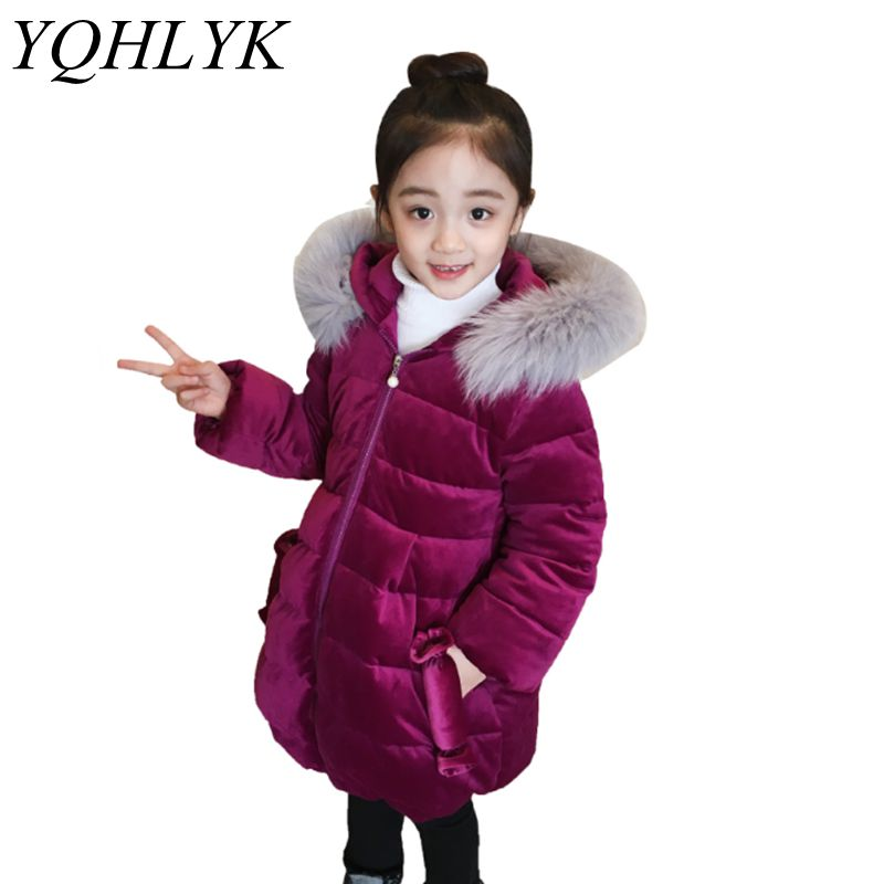 New Fashion Winter Cotton Girls Coat 2018 Korean Children Zipper Hooded Thick Warm Jacket  Sweet Lovely Kids Clothes 2-9Y W162 new winter girls boys hooded cotton jacket kids thick warm coat rex rabbit hair super large raccoon fur collar jacket 17n1120