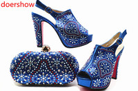 doershow nice blue Shoes with Matching Bags 2018 African silver Shoe and Bag Set Italian Design African Shoes and Bag Set MQ1 1