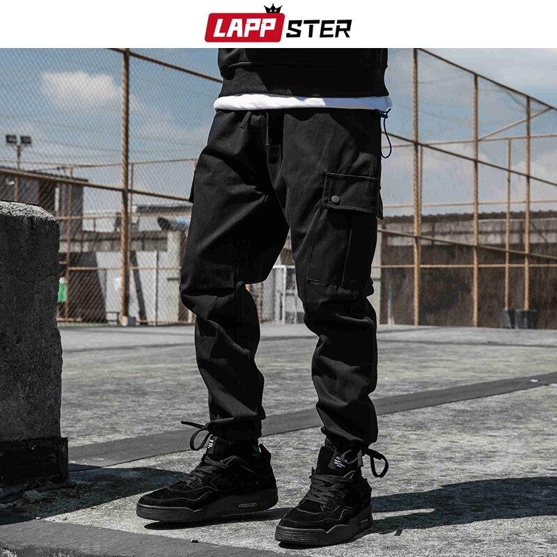 LAPPSTER Men Streetwear Hip Hop Joggers Pants 2019 Mens Pockets Baggy Cargo Pants Male Korean Style Sweatpants Black Trousers