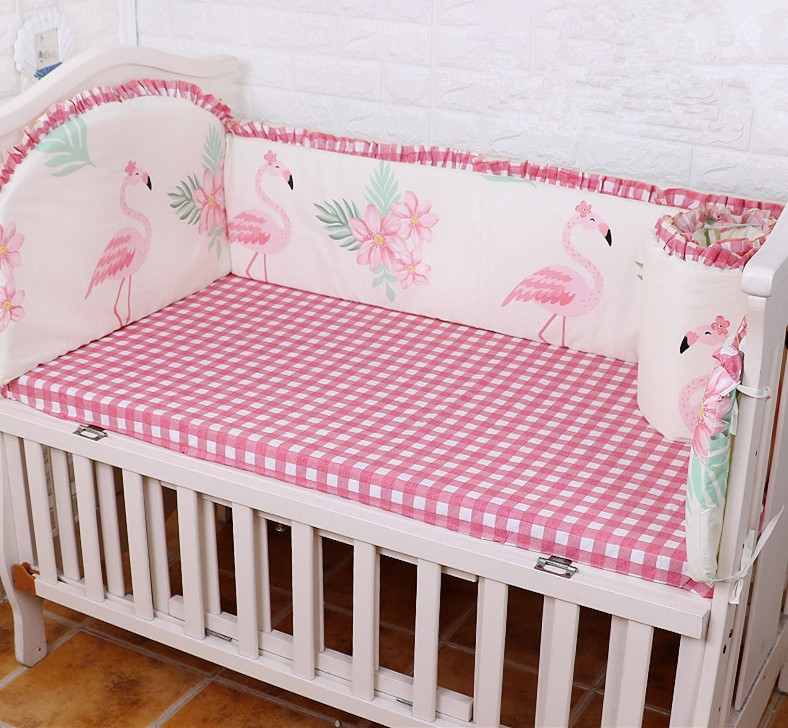 5PCS Cotton Crib Bed Linen Baby Bedding Set Crib Bedclothes Baby Cot Safe Shape Bumpers Sheet,(4bumper+sheet) promotion 5pcs cot baby bedding set lion character crib cotton bedclothes include bumpers sheet