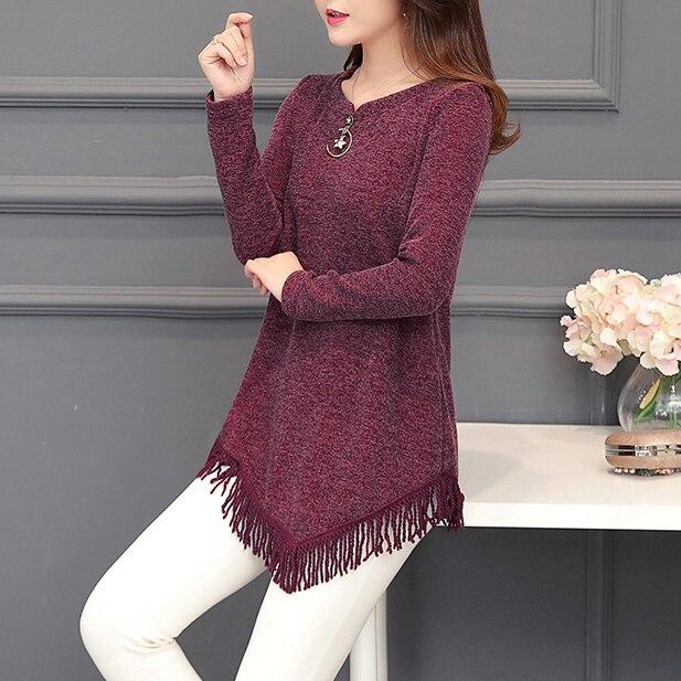 Autumn Winter Top Femme Vintage Tassel Tunic Blouse Women Korean Fashion Plus Size Long Sleeve Female Blouse Shirt Blusas Mujer 2