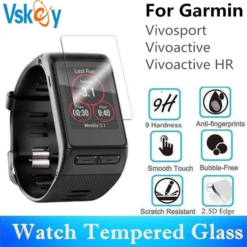 VSKEY 100PCS Tempered Glass For Garmin Vivoactive HR Screen Protector for Garmin Vivosport Sport Smart Watch