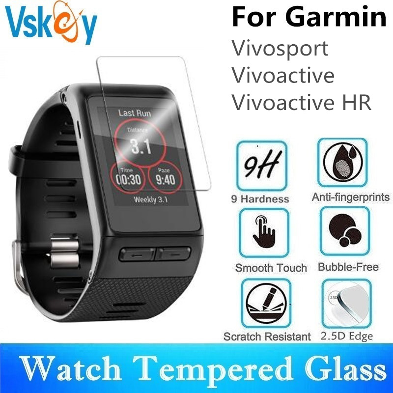VSKEY 100PCS Tempered Glass For Garmin Vivoactive HR Screen Protector for Garmin Vivosport Sport Smart Watch Protective Film-in Screen Protectors from Consumer Electronics    1