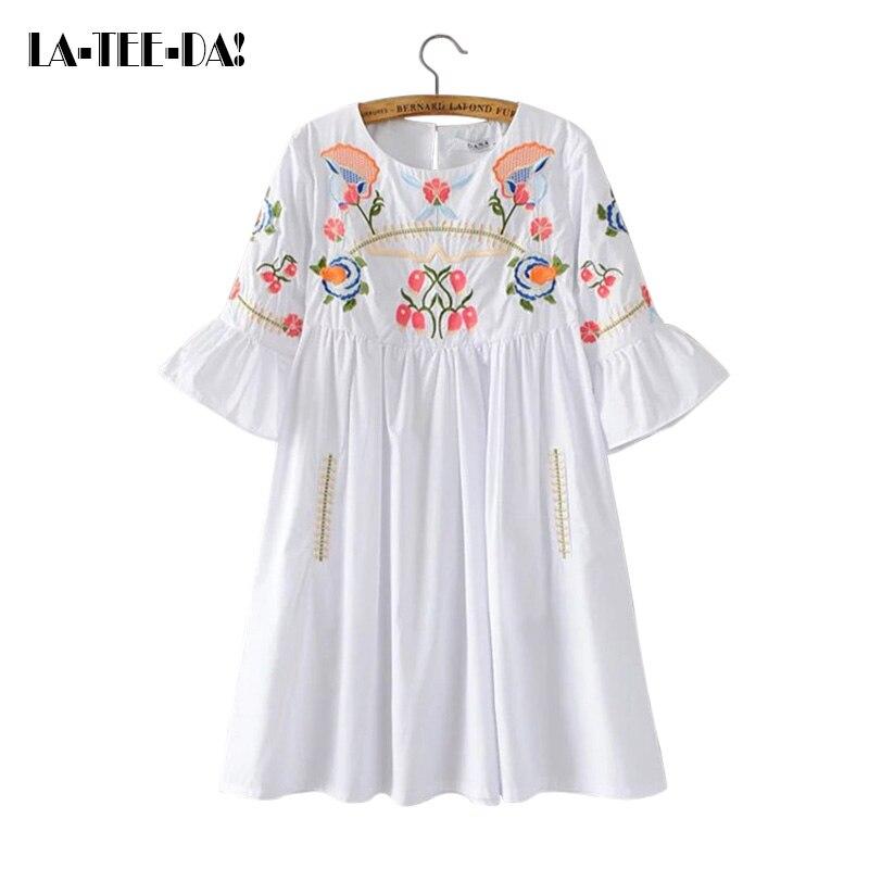 Aliexpress Com Buy Elegant Flare Sleeve Wedding Dress: Aliexpress.com : Buy LA TEE DA! 07 ELYQ Embroidery Dress